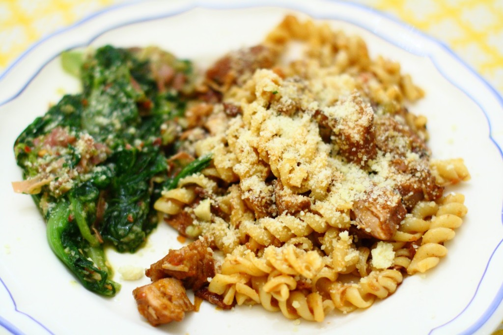 Pasta with Braised Pork, Red Wine and Pancetta