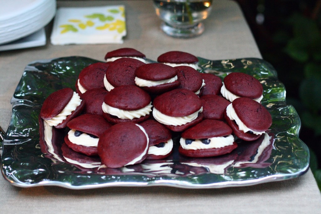 red velvet and blueberry whoopie pies