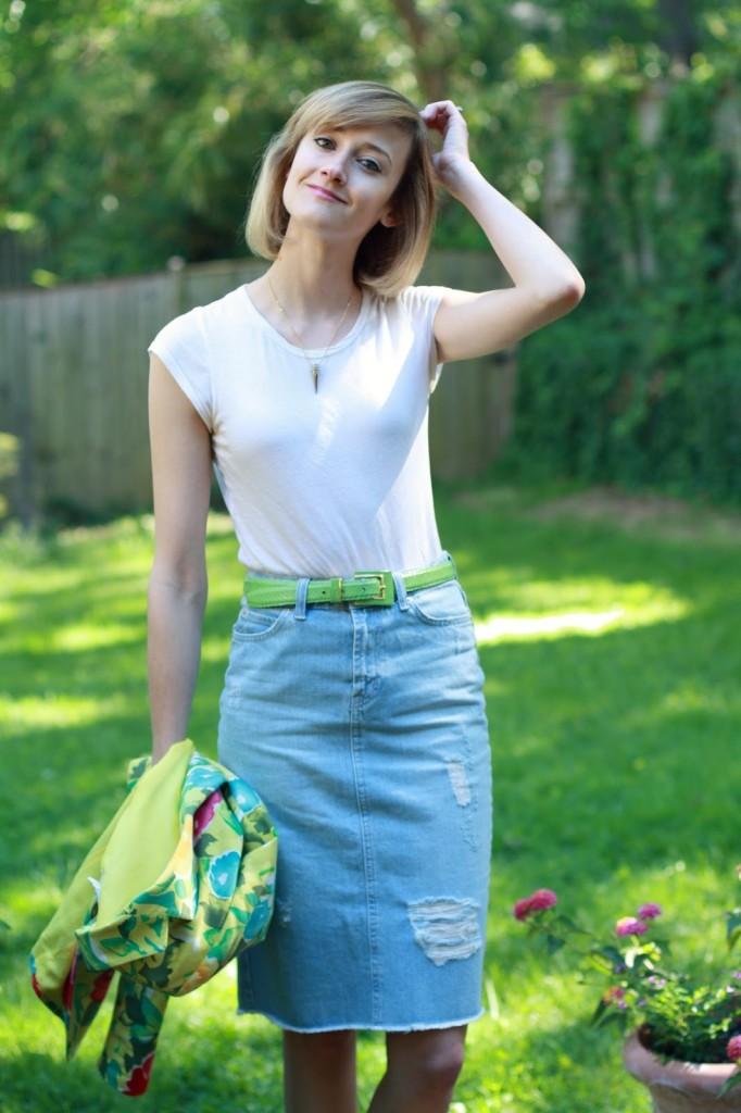 District of Chic white t-shirt + denim skirt