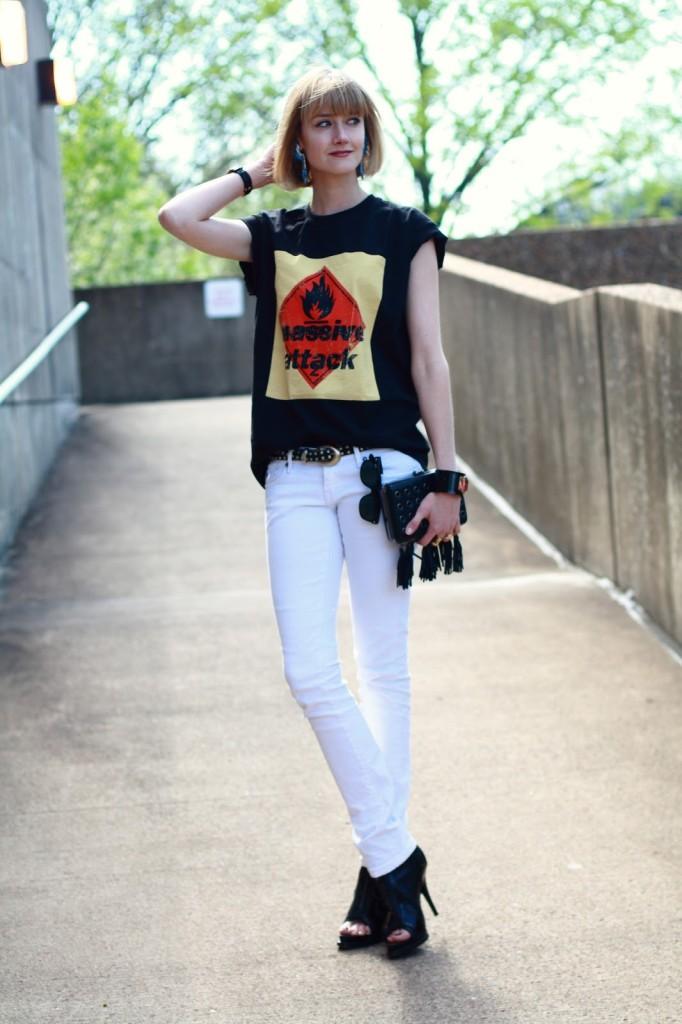 Massive Attack top and white jeans