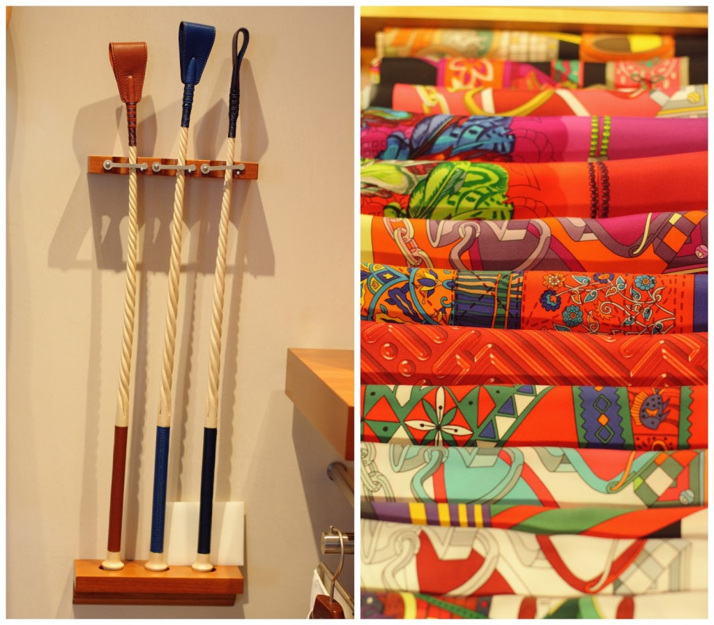 Hermès riding crops and scarves