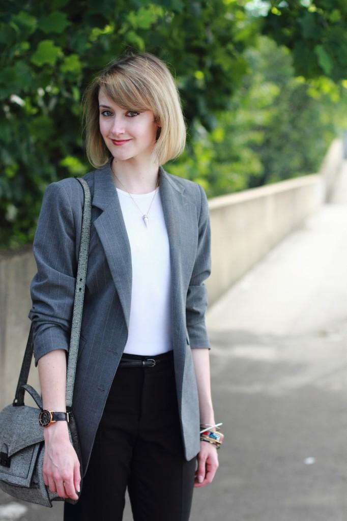 gray blazer and black pants