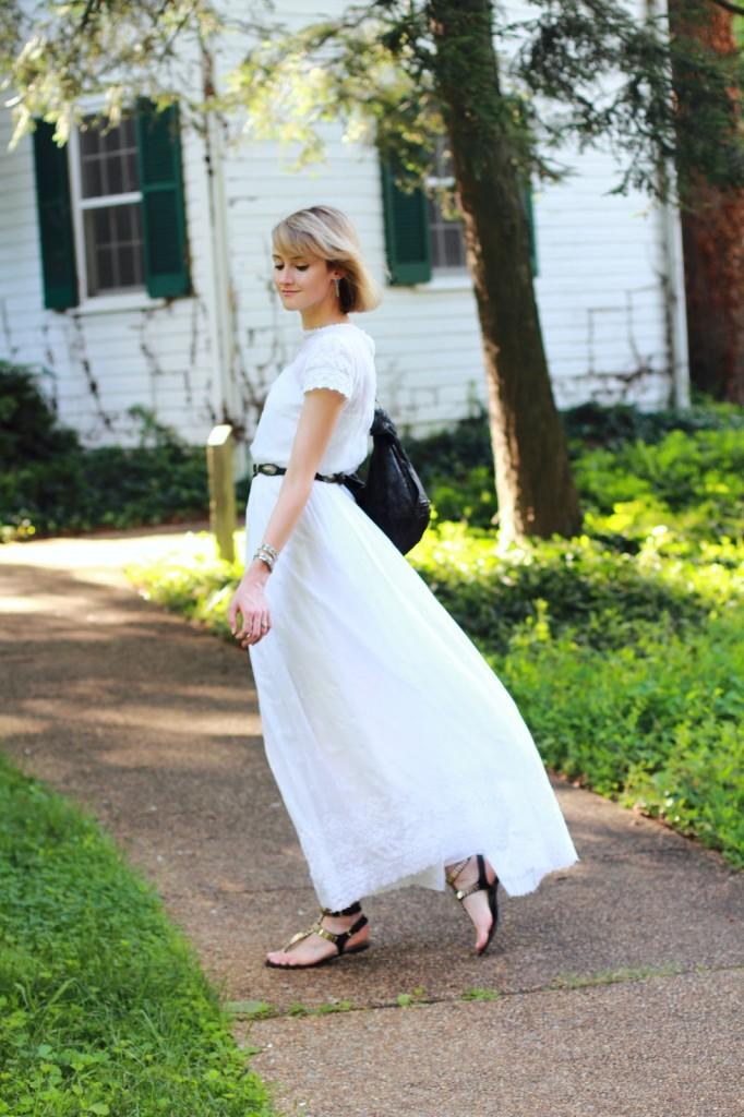 white vintage dress and black flat sandals