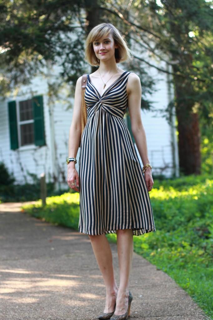 Ted Baker striped dress and Proenza Schouler heels