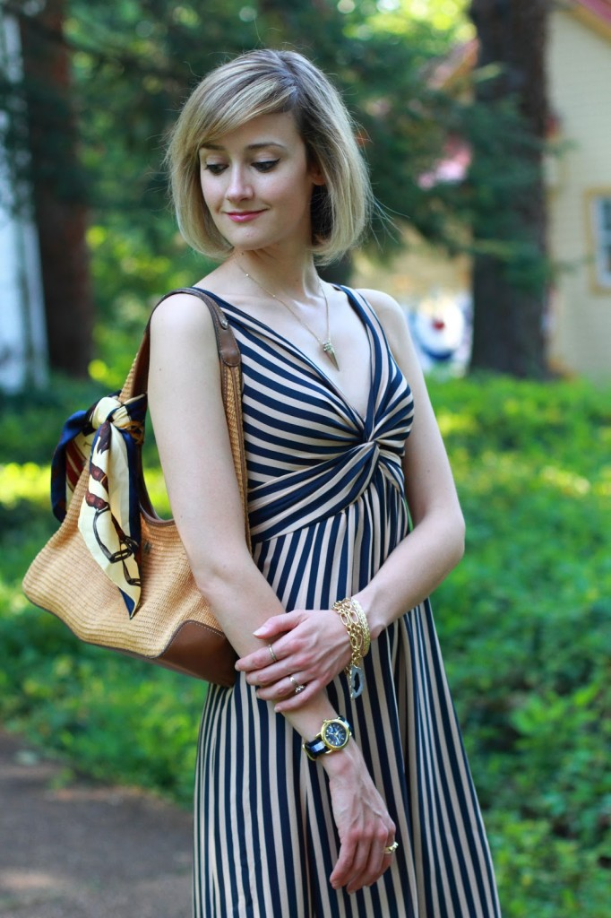 Ted Baker striped dress and A.V. Max necklace