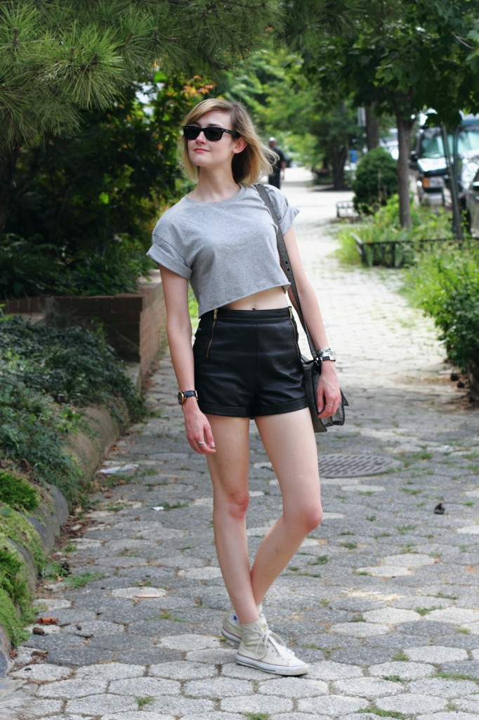 Topshop crop top and leather shorts
