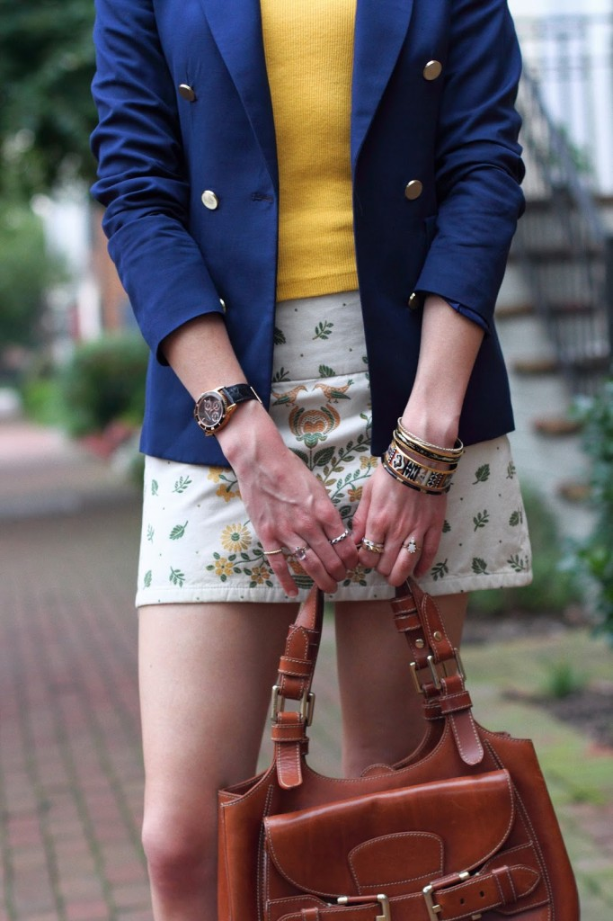 Alice + Olivia embroidered skirt and vintage and nOir rings