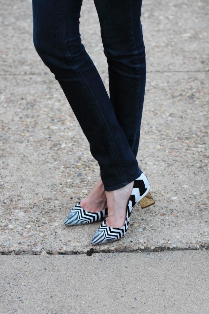 skinny jeans and Nicholas Kirkwood zig-zag heels
