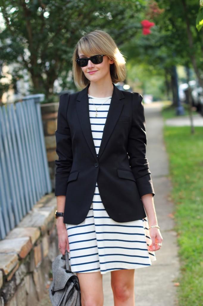 ASOS striped dress and Zara blazer