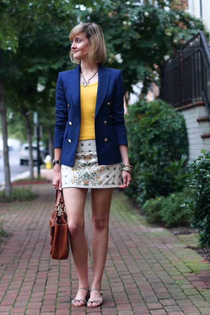 navy blue blazer and embroidered skirt