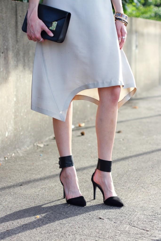 asymmetrical skirt and Zara ankle strap pumps