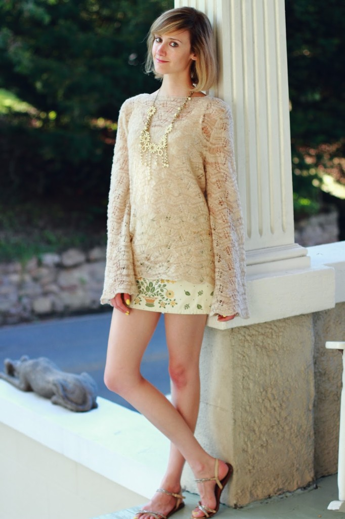 Madewell beaded necklace, vintage sweater, and embroidered skirt