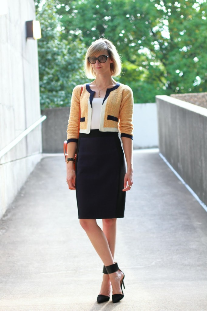 orange and navy work outfit