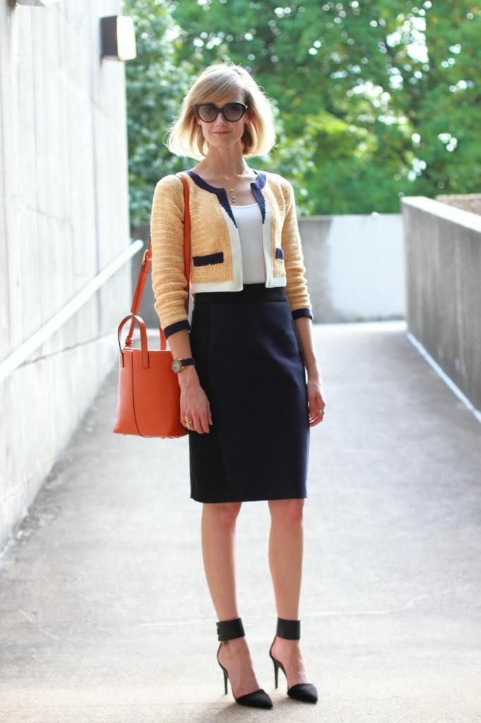 orange Anthropologie jacket, navy Zara skirt, and orange Romwe bag