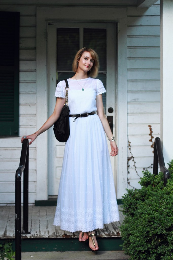 vintage white dress and western belt