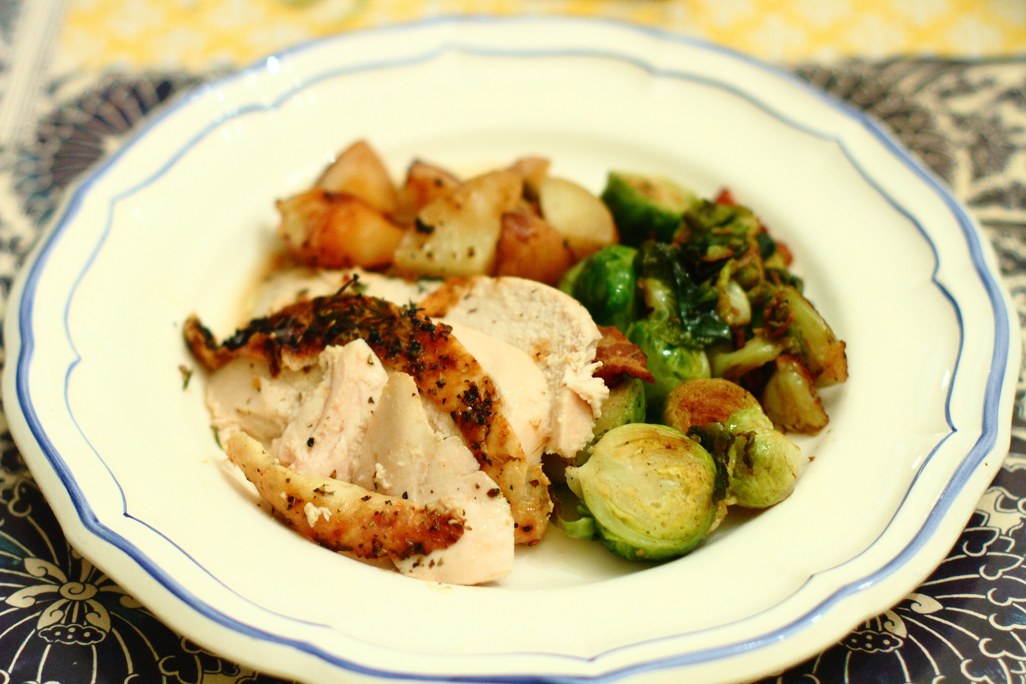 Roast Chicken and Potatoes with Brussels Sprouts and Bacon
