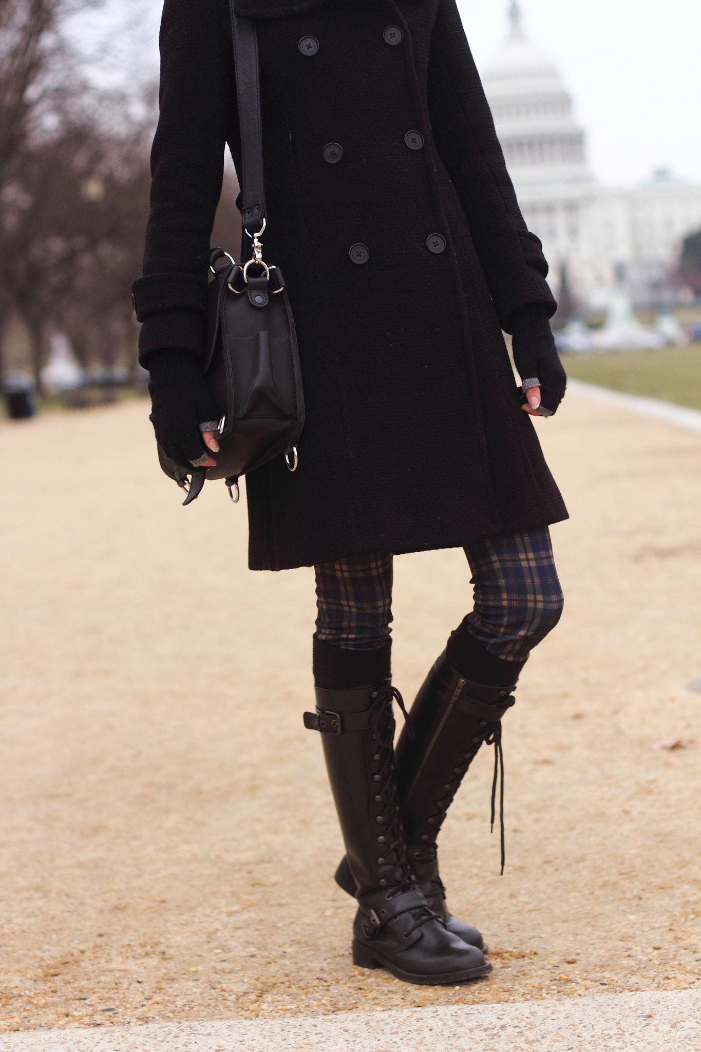 plaid pants and combat boots