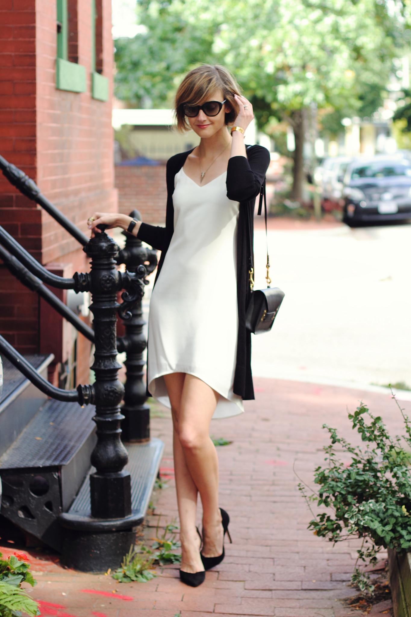 white Oasis slip dress and oversized cardigan