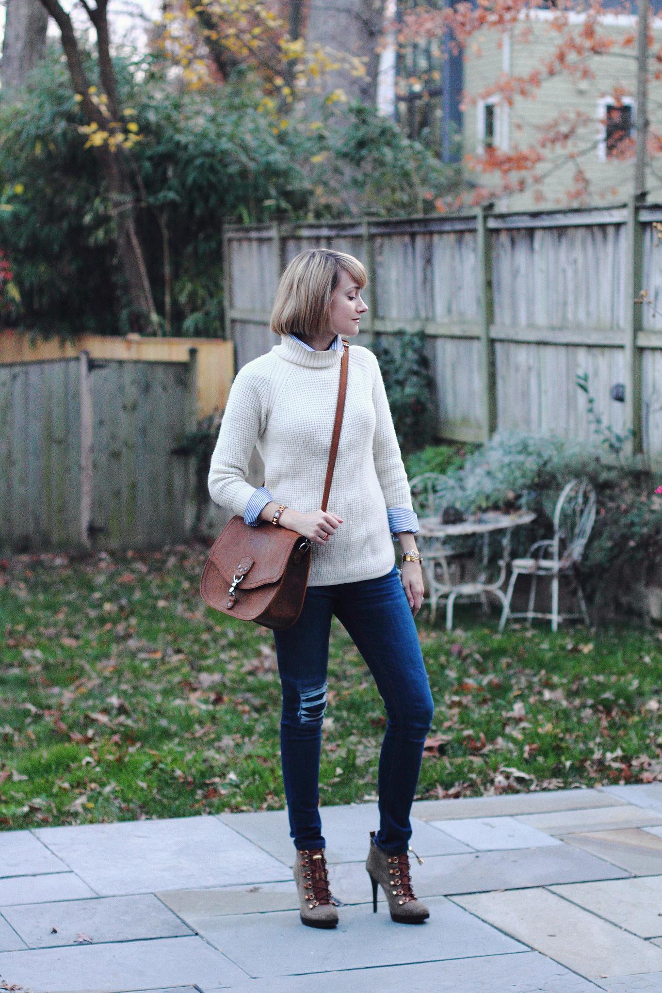 Banana Republic sweater and Saddleback Leather bag