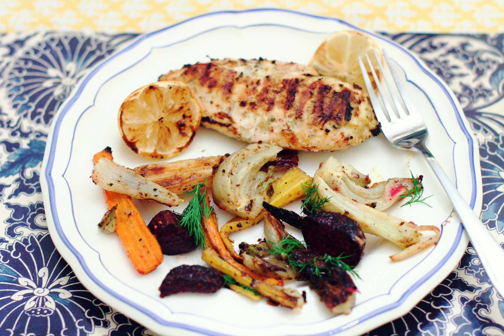 Lemon Chicken and Caramelized Vegetables with Dijon Butter