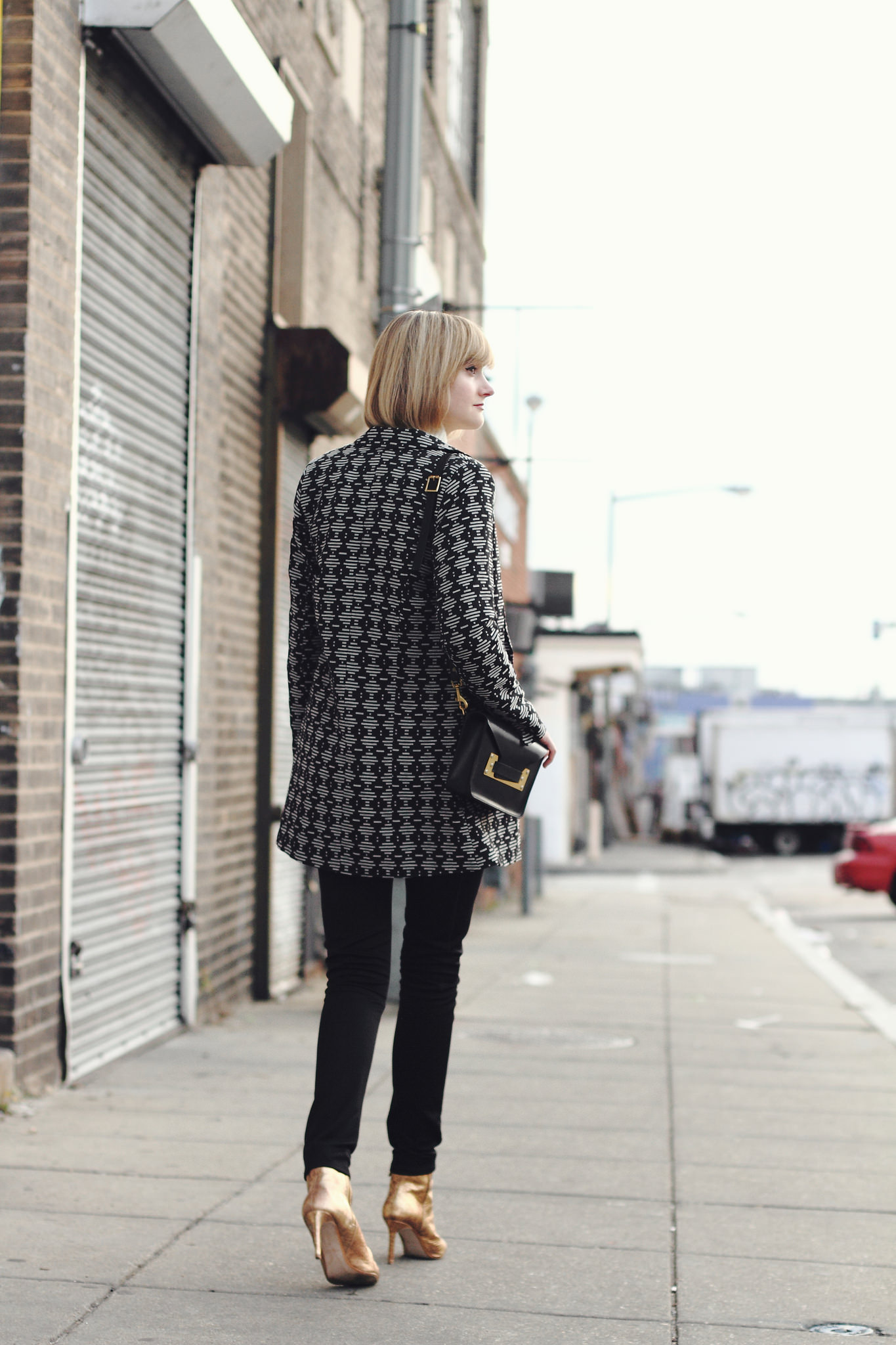 Oasis coat and Zara gold boots