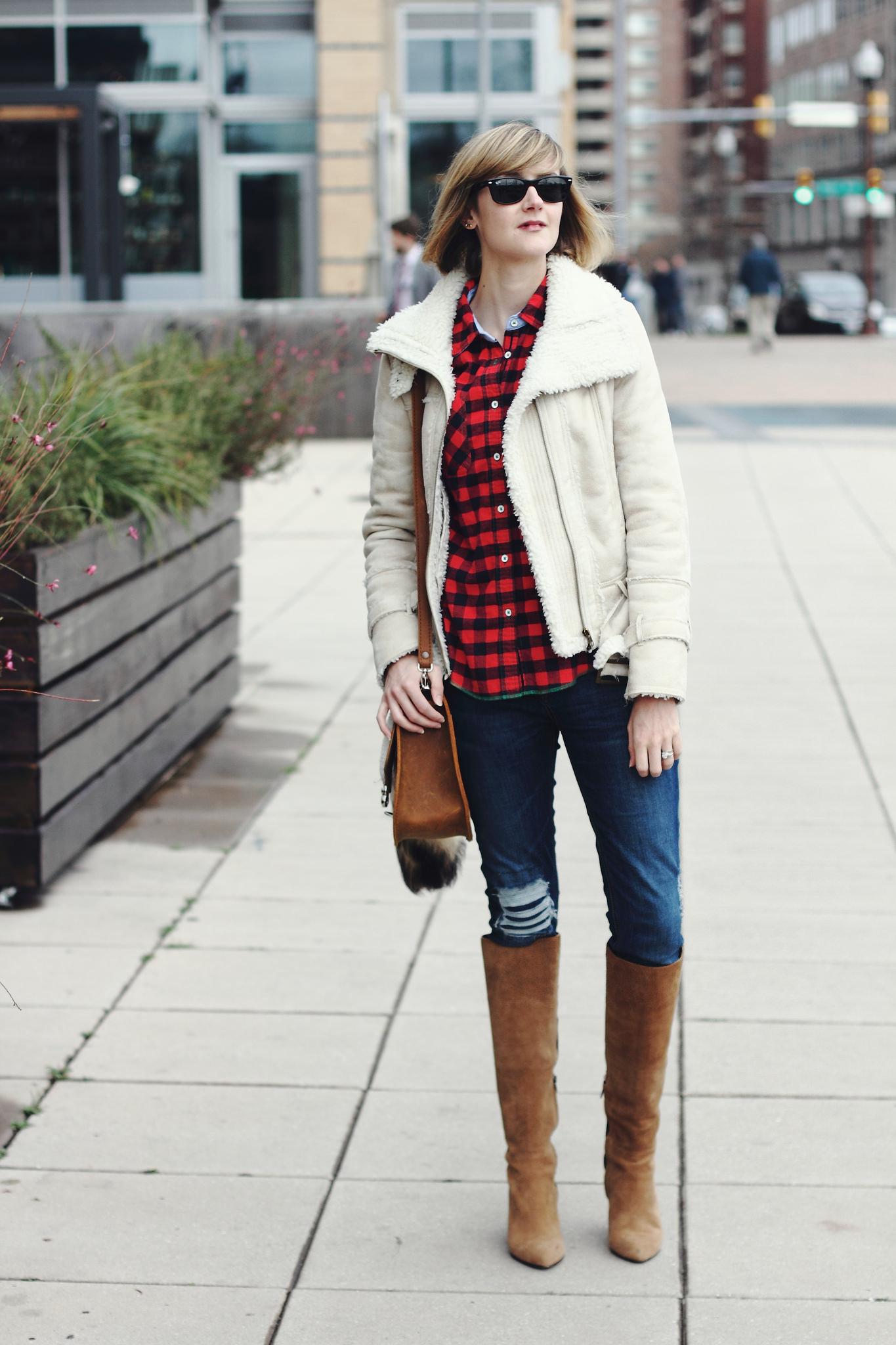 buffalo plaid shirt, Mango shearling jacket, and Saddleback leather bag