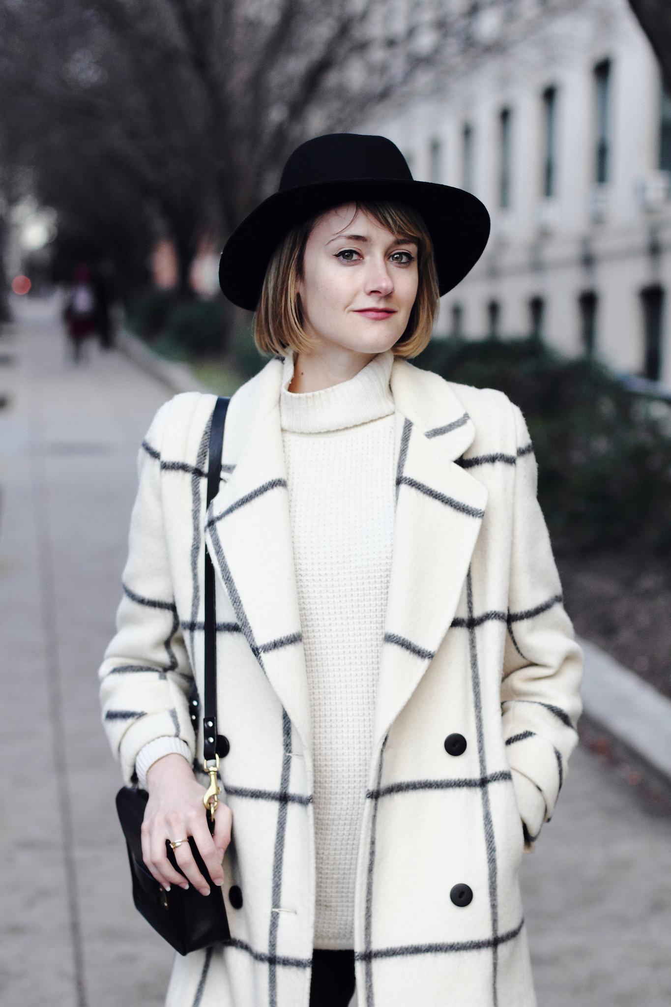 vintage check coat and black fedora