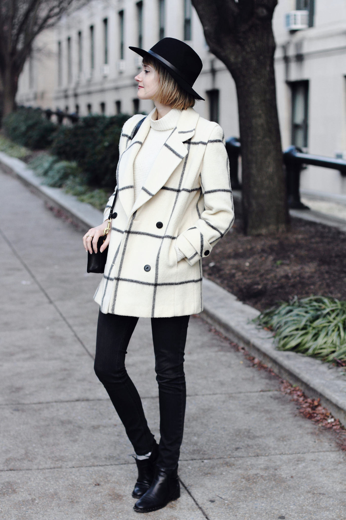 vintage check coat and black jeans