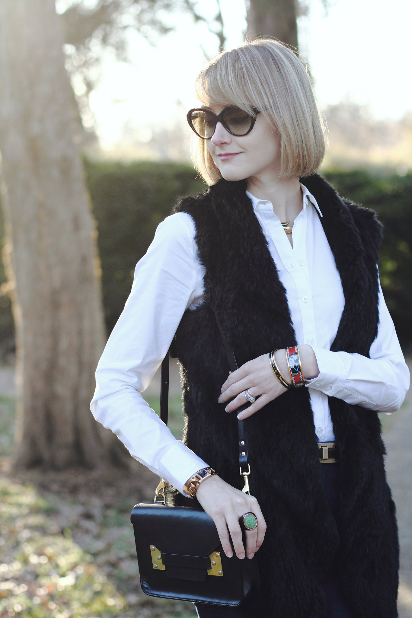 Tsalt fur vest and J Brand flared jeans