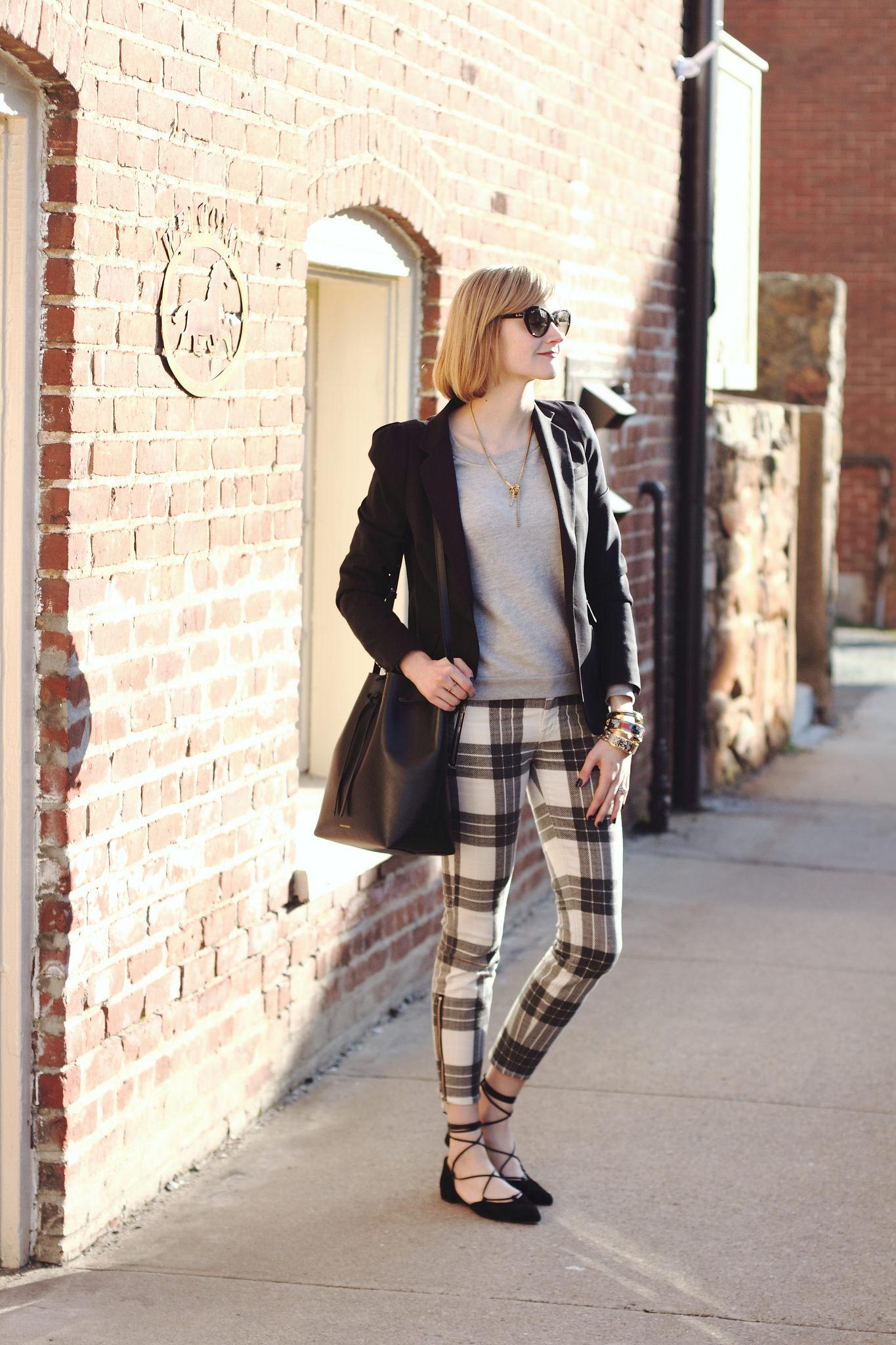 plaid Mother jeans and Stuart Weitzman lace-up flats