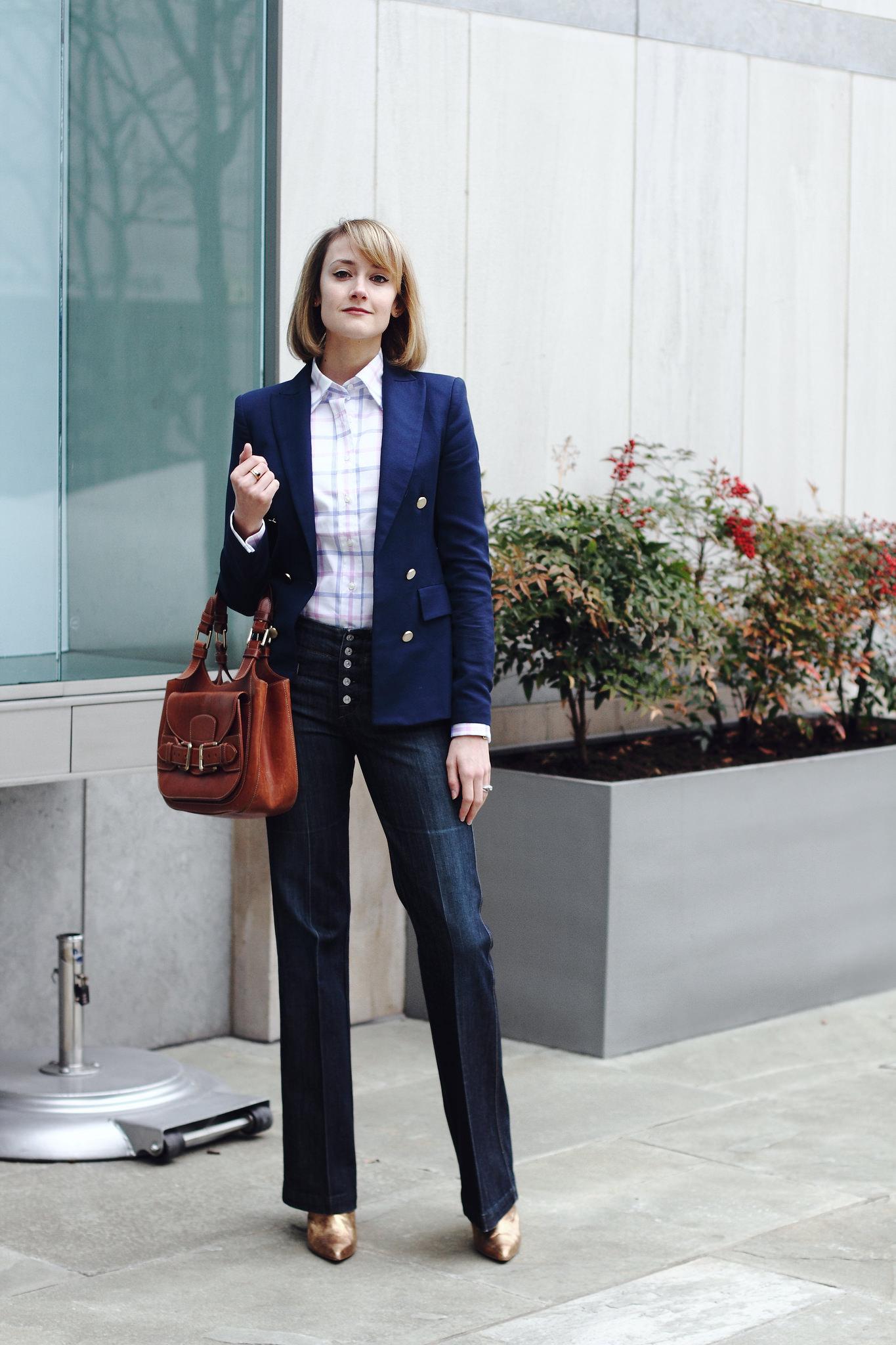 Zara blazer, french cuff button-down & 7FAM jeans