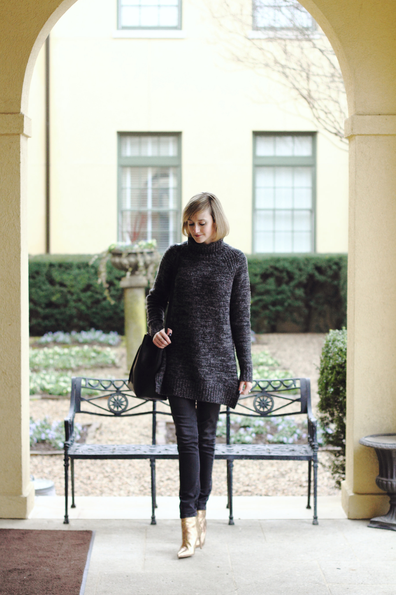 gray oversized sweater, DL1961 skinny jeans and gold ankle boots