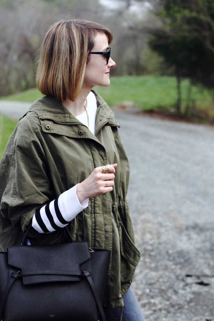 Topshop anorak, striped sweater and Celine bag
