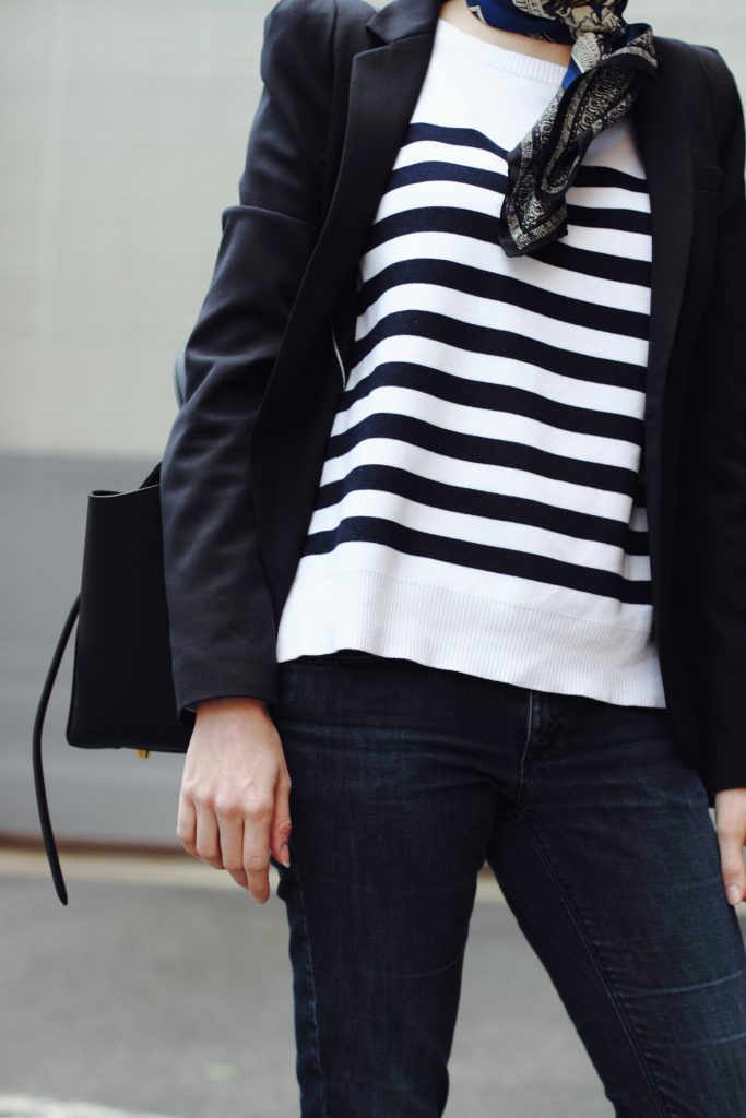 neck scarf and striped top