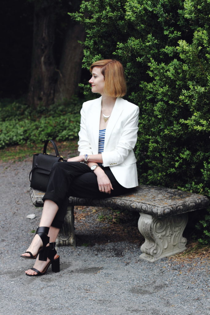 white blazer, striped top, and cropped chinos