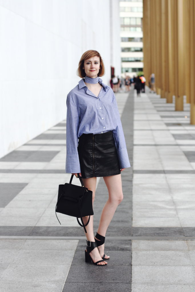 extra long sleeves and leather skirt