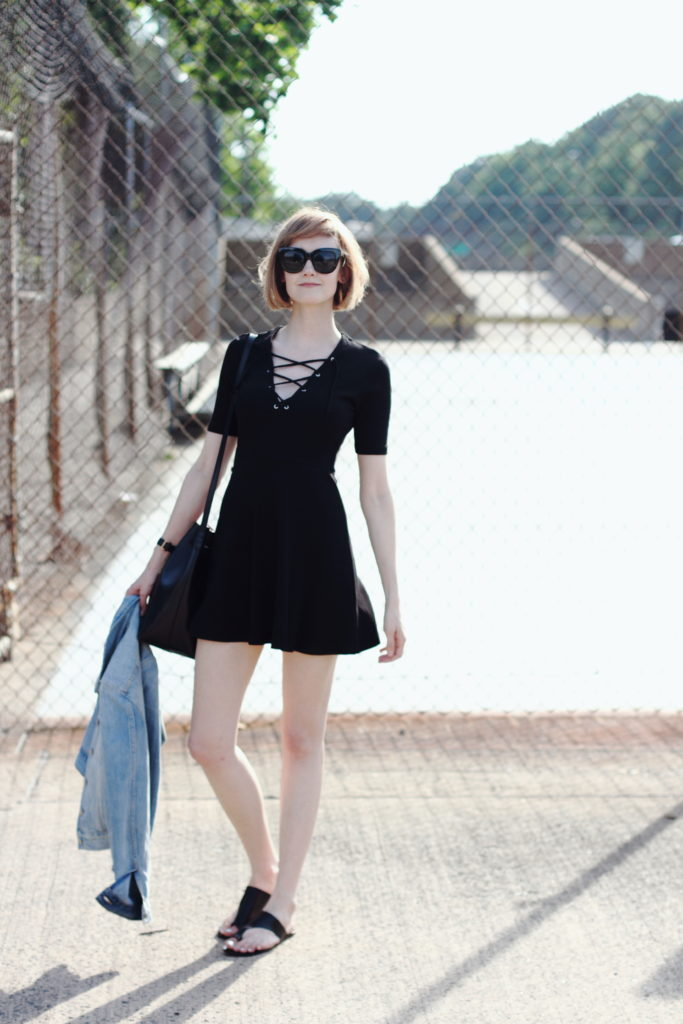 lace-up dress and ATP Atelier sandals