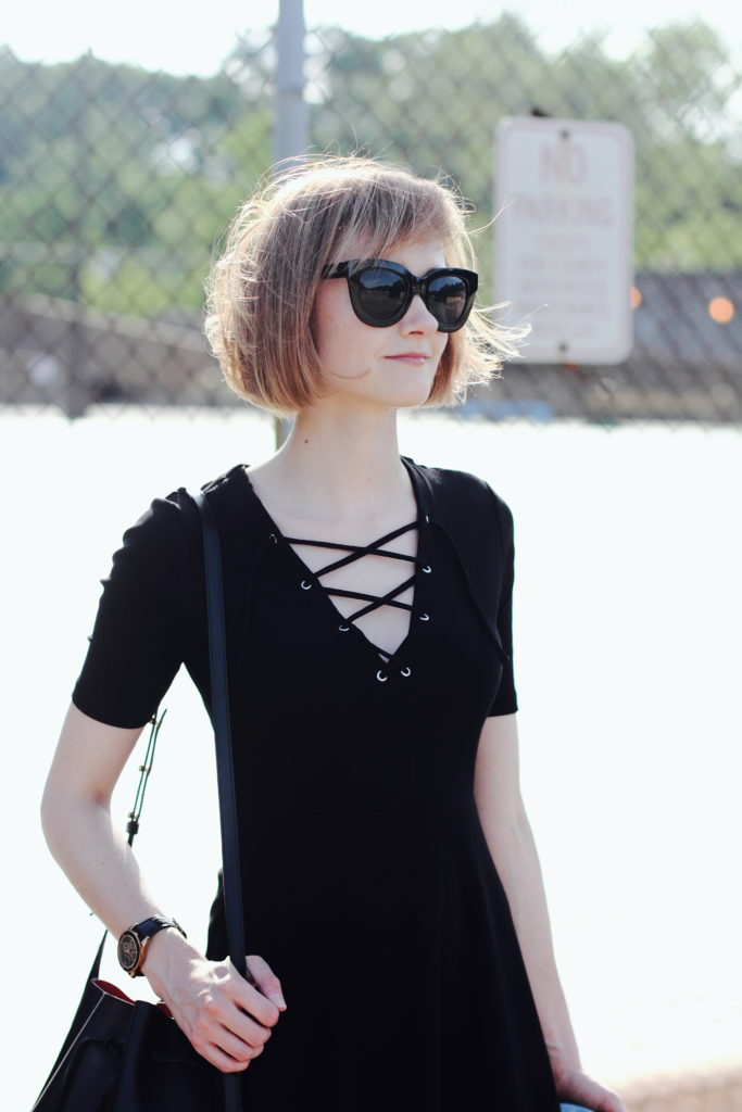 H&M lace-up dress and Quay sunglasses