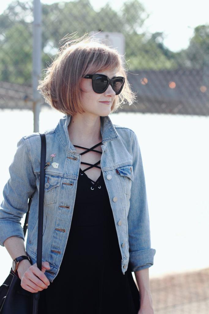 denim jacket and vintage pins