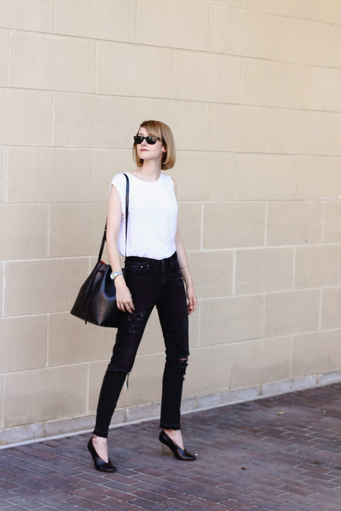 Kit + Ace white t-shirt and distressed denim