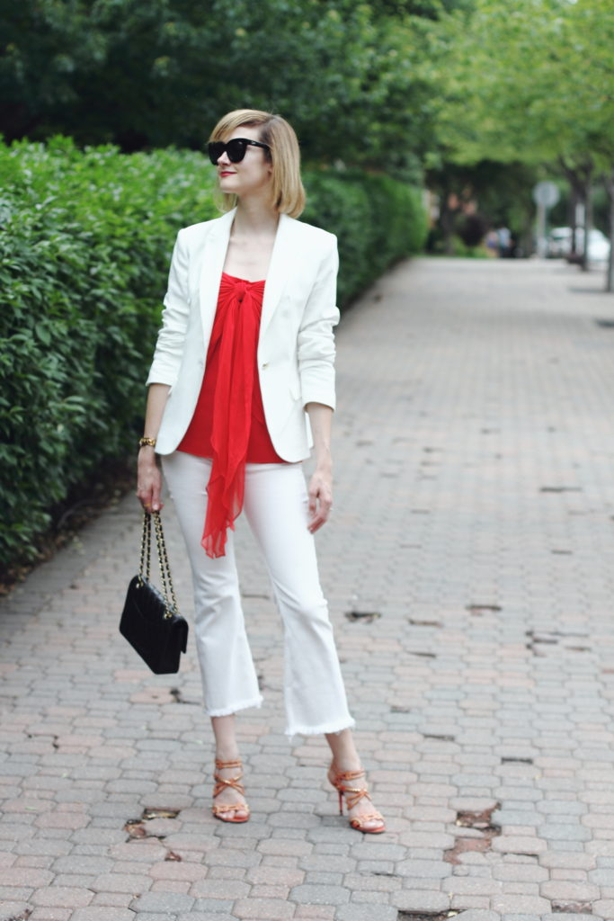 white blazer, white denim and chanel bag