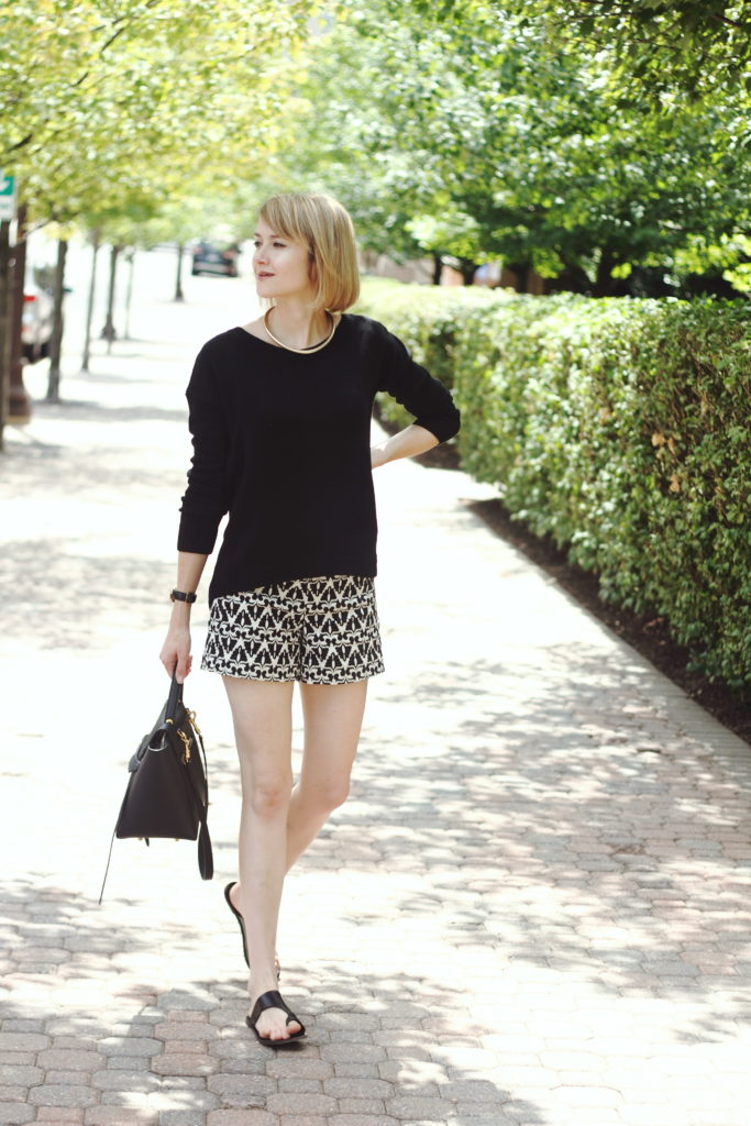 Express sweater, geo print shorts, and Celine bag