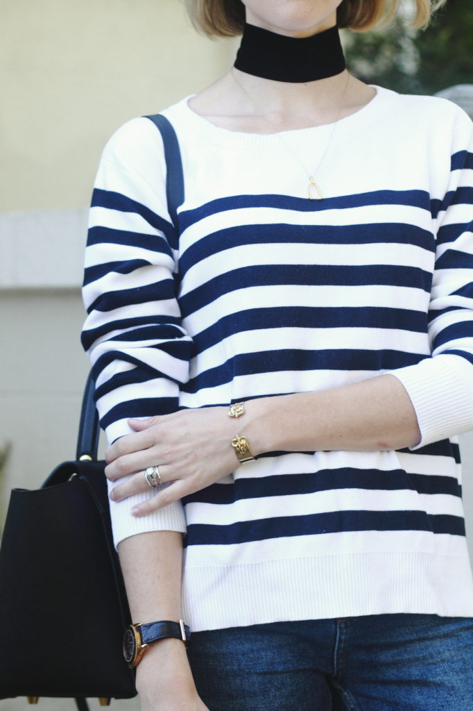 wide choker and striped sweater