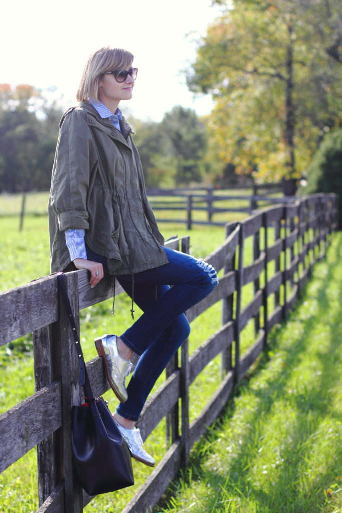 anorak, button-down and silver brogues