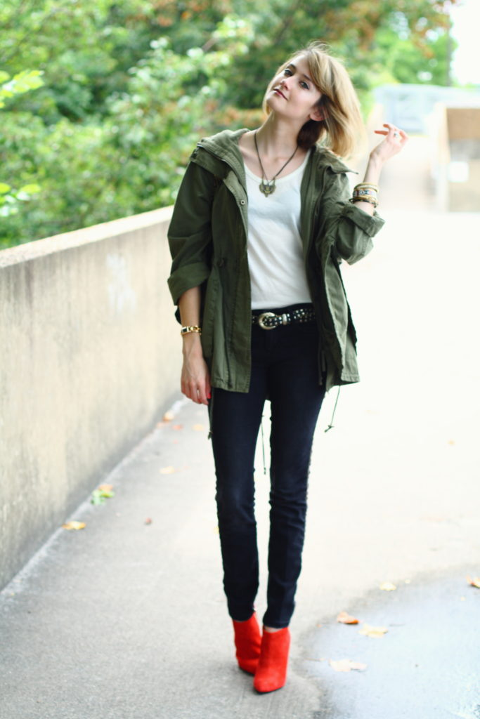 anorak, black denim and red boots