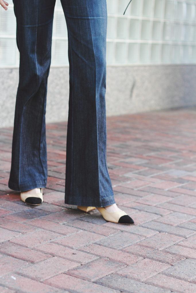 tailored denim and cap-toe heels