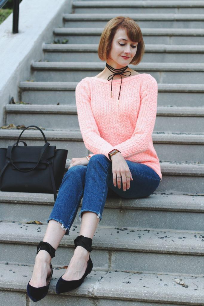 Banana Republic pink sweater and velvet flats