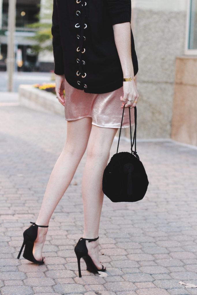 velvet bag and Stuart Weitzman nudist heels