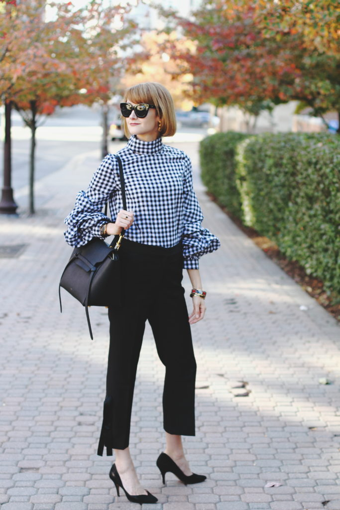 Shein top and Genuine People bow embellished pants