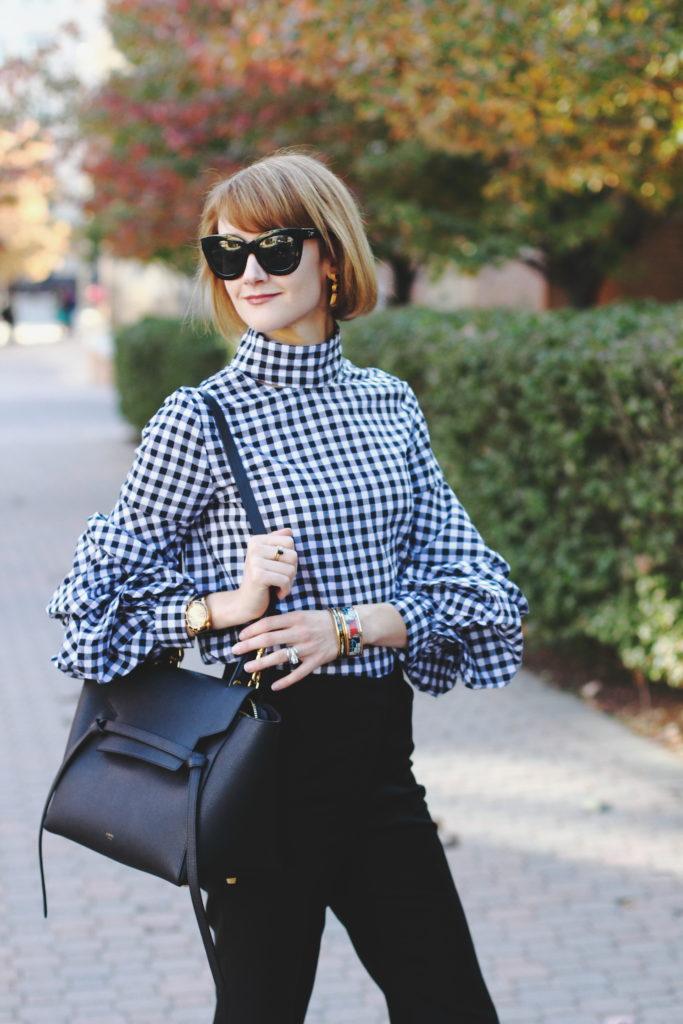 Shein oversized sleeve top and Celine belt bag